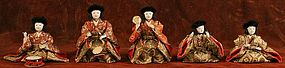 Band of Five Japanese Musician Dolls with Fine Details