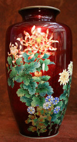Red Japanese Cloisonne Vase with Elaborate Flowers