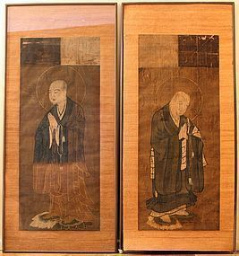 Pair of Antique Japanese Monk Portraits
