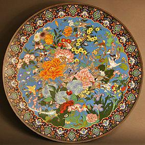 Gorgeous, Monumental 36 inch, 91.5 cm Cloisonne Charger